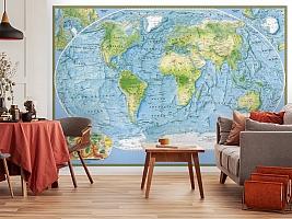 3D Фотообои  «Географическая карта мира»  вид 5