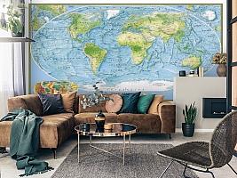 3D Фотообои  «Географическая карта мира»  вид 3