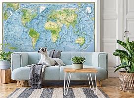3D Фотообои  «Географическая карта мира»  вид 2