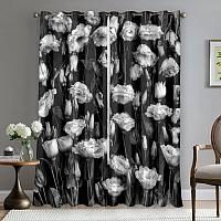 Фотошторы «Цветы на темной ткани» вид 5