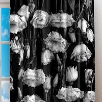 Фотошторы «Цветы на темной ткани» вид 2