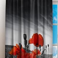 Фотошторы «Красные маки на сером фоне» вид 3