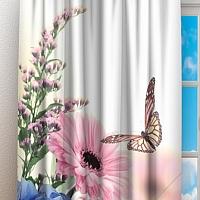 Фотошторы «Бабочки над герберами» вид 3