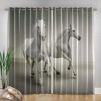Фотошторы «Белые лошади на сером фоне» вид 4