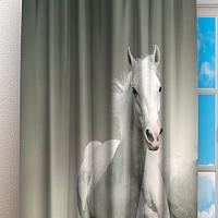 Фотошторы «Белые лошади на сером фоне» вид 3