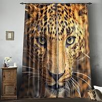 Фотошторы «Леопард портрет» вид 8