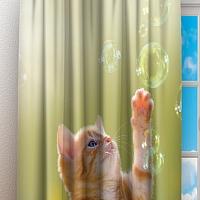 Фотошторы «Рыжий кот с мыльными пузырями» вид 3