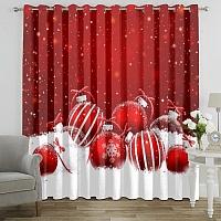 Фотошторы «Красные новогодние шарики» вид 7
