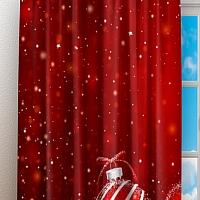 Фотошторы «Красные новогодние шарики» вид 3