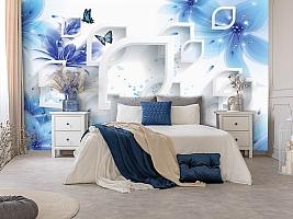 3D Фотообои «Синие цветы с бабочками» вид 7