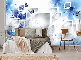 3D Фотообои «Синие цветы с бабочками» вид 3