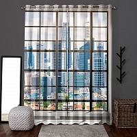 Фотошторы «Окна с панорамным видом на город» вид 6