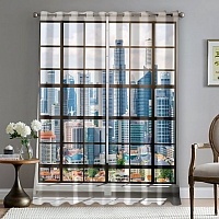 Фотошторы «Окна с панорамным видом на город» вид 5