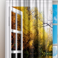 Фотошторы «Вид из окна на озеро с лебедями» вид 3