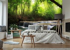 3D Фотообои  «Водопад в солнечном лесу»  вид 6