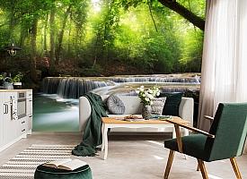 3D Фотообои  «Водопад в солнечном лесу»  вид 4