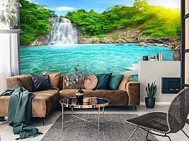 3D Фотообои  «Водопад с кувшинкой»  вид 2