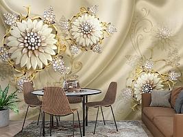 3D Фотообои «Драгоценные цветы на шелке» вид 3