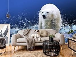 3D Фотообои «Белый медведь на льдине» вид 4