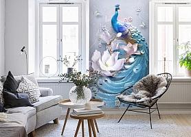 3D Фотообои «Голубой павлин»