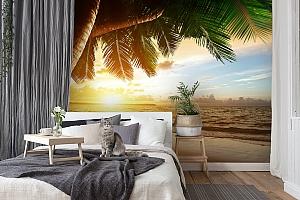 3D Фотообои  «Закат под пальмами»  вид 7
