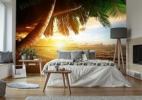 3D Фотообои  «Закат под пальмами»  вид 6