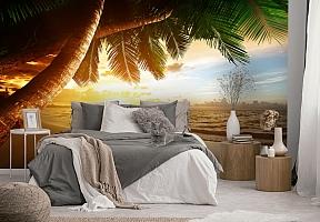 3D Фотообои  «Закат под пальмами»  вид 3