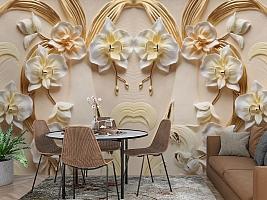 3D Фотообои «Орхидеи барельеф»