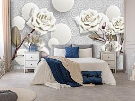 3D Фотообои «Керамические розы с парящими сферами» вид 7