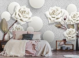 3D Фотообои «Керамические розы с парящими сферами» вид 4