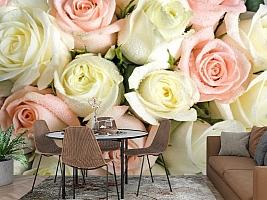 3D Фотообои «Салатово-розовые розы» вид 2