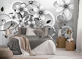 3D Фотообои «Серые цветы» вид 5