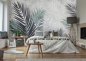 3D Фотообои «Листья пальмы в сдержанных тонах»