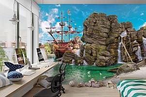 3D Фотообои  «Пиратский остров»  вид 3