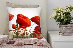 3D Подушка «Красные маки»