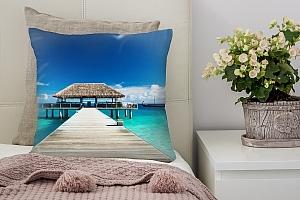 3D Подушка «Бунгало Мальдивы»