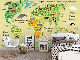3D Фотообои «Карта мира для детской» вид 5