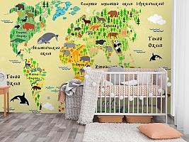 3D Фотообои «Карта мира для детской» вид 3