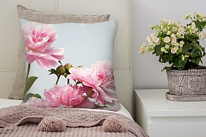 3D Подушка «Розовые пионы на сером фоне»
