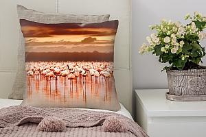 3D Подушка «Фламинго на закате» вид 2