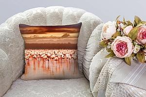 3D Подушка «Фламинго на закате» вид 3