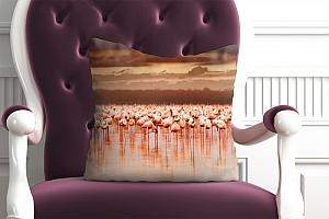 3D Подушка «Фламинго на закате» вид 5