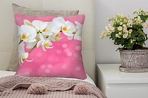 3D Подушка «Белая орхидея на розовом фоне»