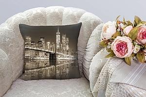 3D Подушка «Бруклинский мост сепия» вид 4