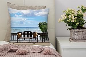 3D Подушка «Веранда на море»