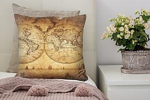 3D Подушка «Старинная карта мира»