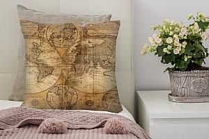 3D Подушка «Старая карта мира»