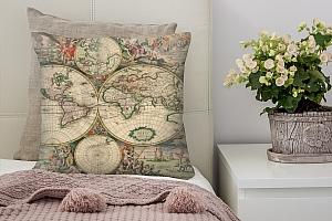3D Подушка «Карта мира фреска»