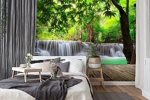 3D Фотообои  «Мостик у водопада»  вид 7