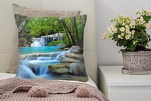 3D Подушка «Водопад в зеленом лесу»  вид 2